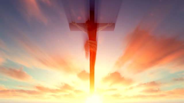 Jesus cross against heavenly red sky with pigeons flying video