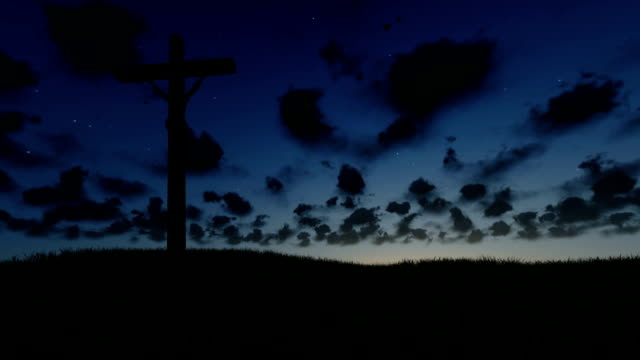 Jesus on Cross, meadow and timelapse sunrise, night to day video