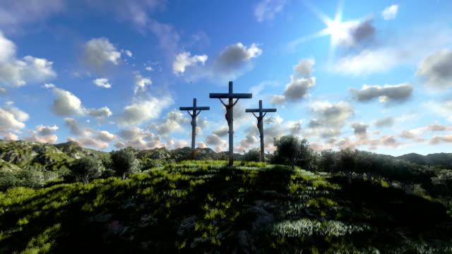 Jesus on Cross, meadow with olives and time lapse clouds video