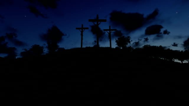 Jesus on Cross, meadow with olives, timelapse night to day video