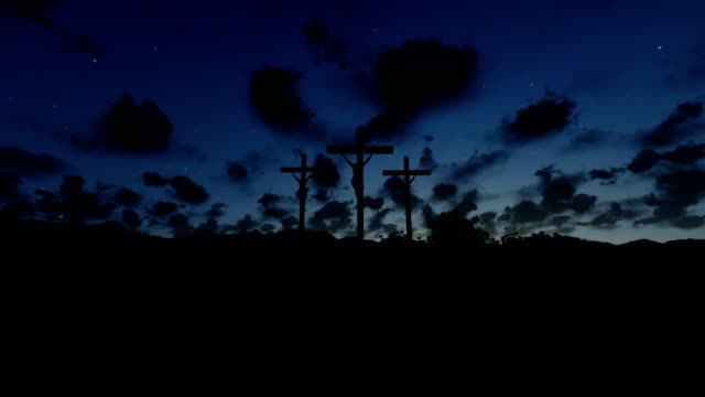 Jesus on Cross, meadow with olives, timelapse sunrise night to day video
