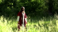 Jesus prays with disciples in sunny field video