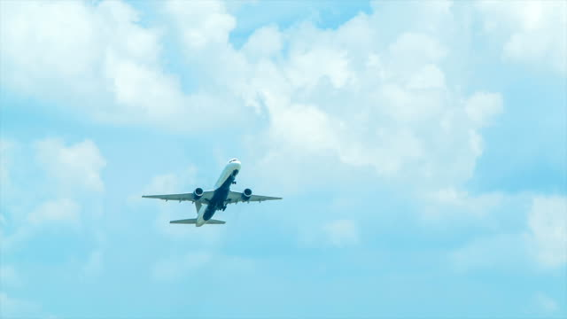 Jet Airliner Taking-off into Blue Sky with White Clouds video