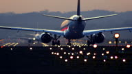 Jet airplane waiting on runway for take off. video