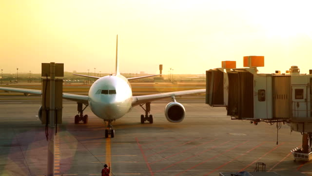 Jet Arriving At Gate video