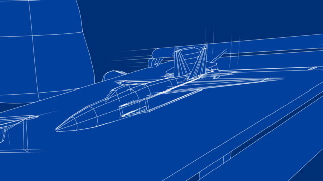 Jet Blueprint on Drafting Table video