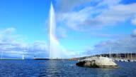 Jet D'eau on lake geneva video