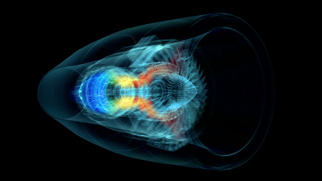 Jet engine 3D x-ray transparent with temperature map video
