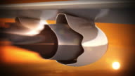 Jet engine in sunset light. Vacation trip. Loopable CG. video