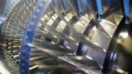 Jet engine turbine cut open video video