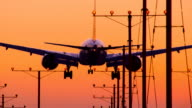 Jet Landing Airport Sunset video