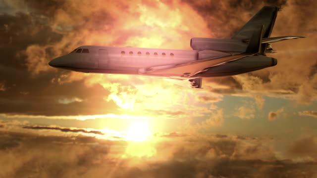 Jet Plane Flying at Sunset Begins To Crash video