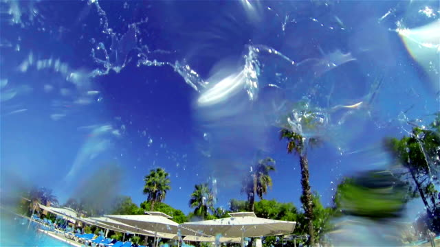 Jet water spray falling in the pool. Background - pool and palm trees. video