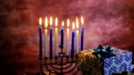 Jewish holiday HanukkahBeautiful Chanukah decorations in blue and silver with gifts video