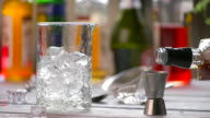 Jigger and jug with ice. video