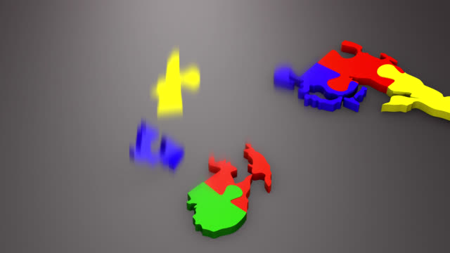 Jigsaw Puzzle Worldmap Multicolor video