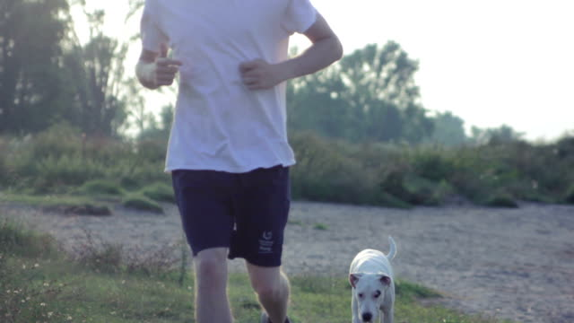 Jogger running with his dog video