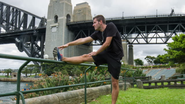 Jogger stretching in Sydney video