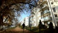 Jogging in autumn video