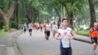Jogging in park video
