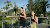 Jogging Slow-Motion Athletic Couple Workout video