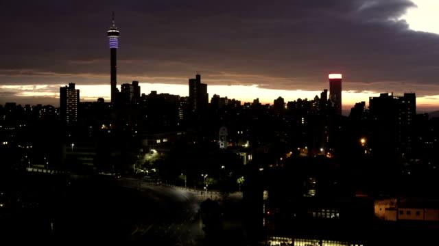 Johannesburg sunrise cityscape timeline video