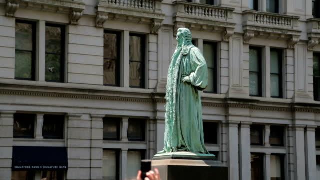 John Watts Statue in Manhattan New York City, a side view video