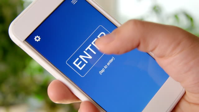 Join us concept application on the smartphone. Man uses mobile app. video