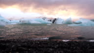 Jokulsarlon Glacier Lagoon on Iceland at dusk video