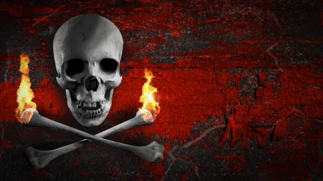 Jolly Roger for titles. Grey skull and bones flaming LOOP video