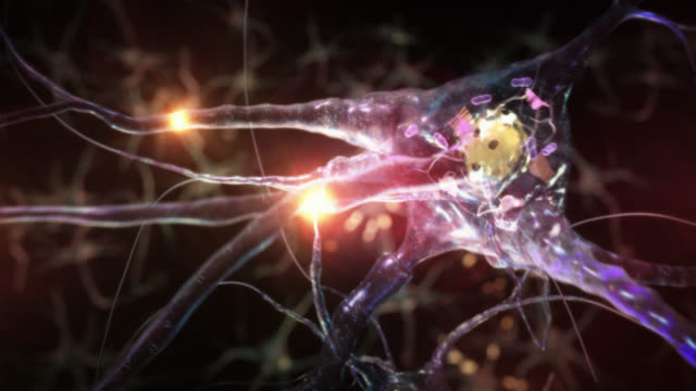 Journey inside a neuron cell network. Blue. video