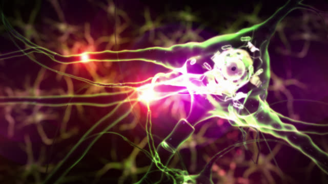 Journey inside a neuron cell network. Tecno Green. Loopable. video