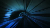 Journey through a tunnel. Loopable. Real. Blue. video