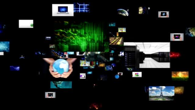 Journey through video screens. Alpha matte. video