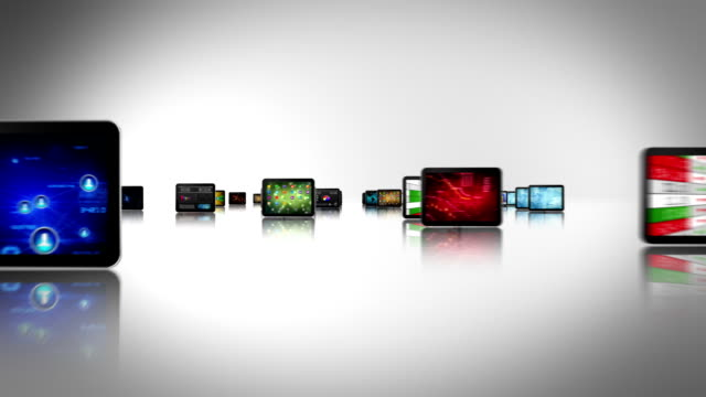 Journey through video screens. Tablet-Smartphone. White/black. Loopable. video