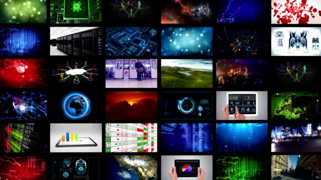 Journey through video wall to a circuit board. video