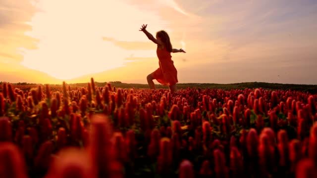 SLO MO Joyful girl in field of crimson clover video