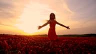 SLO MO Joyful girl twirling among flowers at sunset video