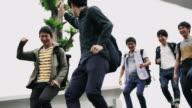 MS Joyful Japanese students leaving the school video