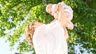SLO MO Joyful mother with her baby video
