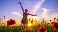 SLO MO Joyful Woman In The Meadow video