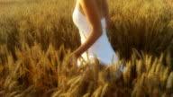 HD SLOW MOTION: Joyful Woman Running In The Field video