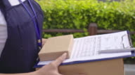 Joyous Delivery Woman Walking with Parcel video