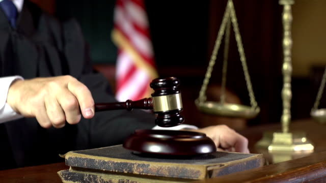 Judge in Court using Gavel - Super Slow Motion (USA) video