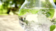 Jug of water with fresh mint leaves,Slow Motion video