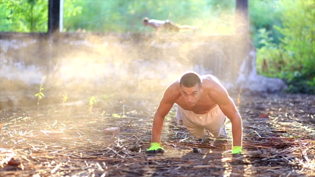 Jumping push ups in dust video