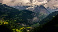 Jungfrau massif and villages on mountainsides, Lauterbrunner video