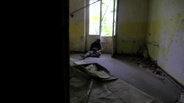 Junkie in an abandoned building video