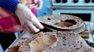 Just baked pie spoiled with a huge hole inside video