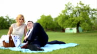 Just married couple on a picnic video